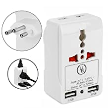 Yubi Power TMA32ZU Travel Adapter with 2 Universal Outlets and 2 USB 2.0 Ports - Built in Surge Protector and Light Indicator - Plug Type Type N works with Brazil and South Africa