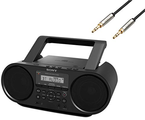 Sony Bluetooth Portable Cd Player Mega Bass Reflex Stereo Sound System Plus 6ft Kubicle Aux Cable Bundle