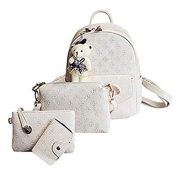 Amazon.com   4Pcs/Set Small Women Backpacks Female School Bags For Teenage Girls Black PU Leather Backpack Shoulder Bag Purse   Backpacks