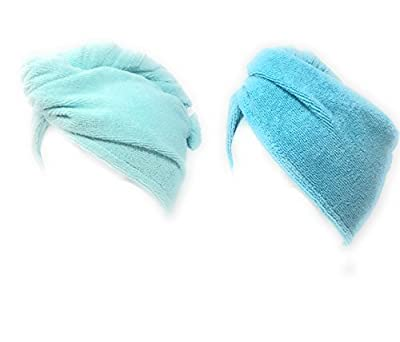 Turbie Twist Microfiber Hair Towel (2 Pack) Light Aqua - Dark Aqua