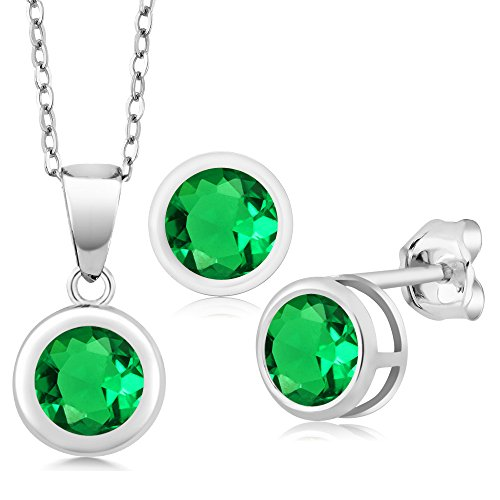 - 2.76 Ct Round Green Simulated Emerald 925 Sterling Silver Pendant Earrings Set