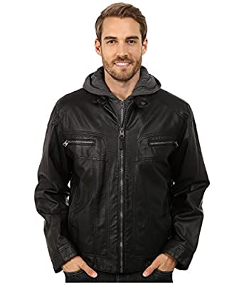 Calvin Klein Men's Faux Leather Moto Jacket with Hoodie
