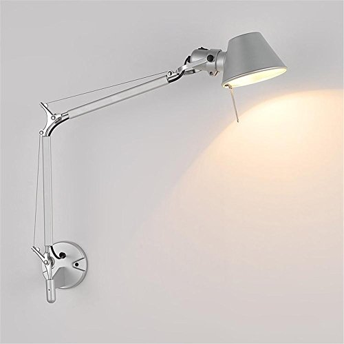 Wall Lights Modern Reading LED Polished Chrome Aluminum Wall Lamp Adjustable Metal Double Swing Arm With Lampshade Rotatable Living Room Bedroom Hotel Bedside Wall Surface Mounted Sconces