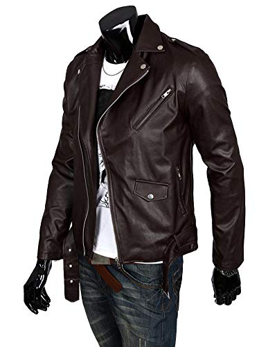 Légère Homme Jacke Blouson Marron Cuir Simili Moto Veste Casual Avec Ceinture qw8UaZw