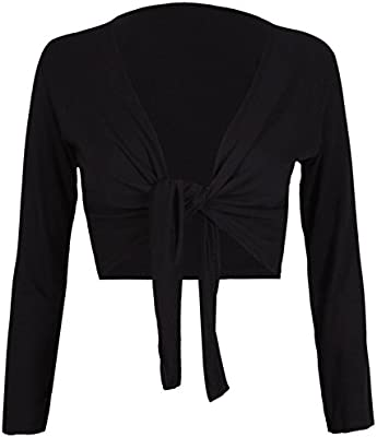 Womens Long Full Sleeves Ladies Stretch Bolero Cropped Cardigan Front Tie Knot Shrug Top