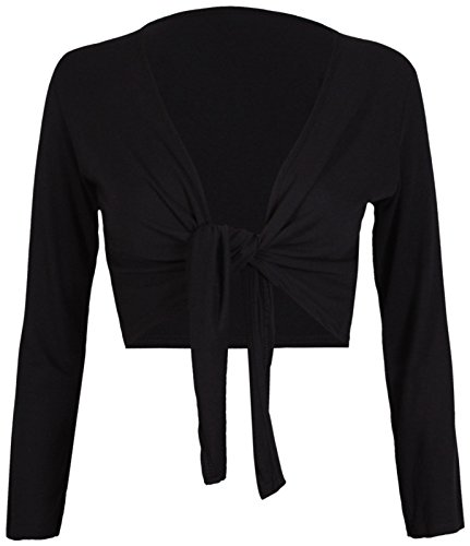(Tie Knot Up Shrug Front Cropped Bolero Shrugs Cardigan Wrap Women's Ladies Long Full Sleeve Open Top Black-L/XL)