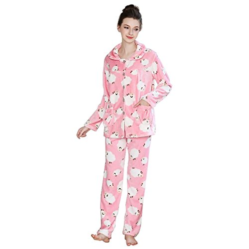 Depaud Womens Floral Flannel Fuzzy Pajama Set with Pan Loungewear Pink L
