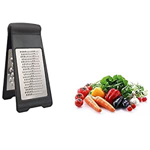 DUOMI Stainless Steel Grater Zester - Two-Fold Collapsible Rust Resistant Sharp Blade Shredder