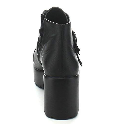 Zip Toe Hayden Round Booties Chunky Women X2B Platform Buckle Black Ankle Strap 3 Side IF8x4dqp