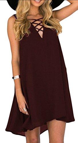 Women Summer Chiffon Loose Dress Red XL - 9