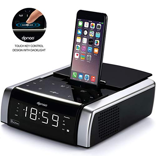 Charging Docking Music System for iPhone Xs, XS Max, XR, X, iPhone 8, 7,6 Plus, with Alarm Clock Bluetooth Wireless Remote USB Port Touch Key (Apple Mfi Certified)