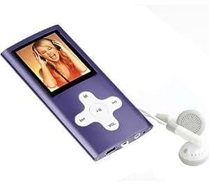 Reproductor de MP3 MP206 Radio 4 GB - Color violeta + Cargador USB - blanco + Auriculares estéreo sonido digital (CS01)