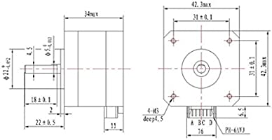 Nema 17 3d Impresora De Dos Fases Del Motor De Pasos De 4 Hilos ...