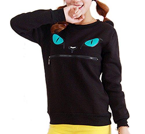 YunPeng women's Sweatshirt Top Zip Mouth Smile 3D Ear Cat Jumper Sweatshirt (XL, Black)