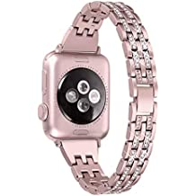Secbolt Bling Bands Compatible Apple Watch Band 38mm 40mm iWatch Series 3, Series 2, Series 1, Diamond Rhinestone Metal Jewelry Wristband Strap, Rose Gold