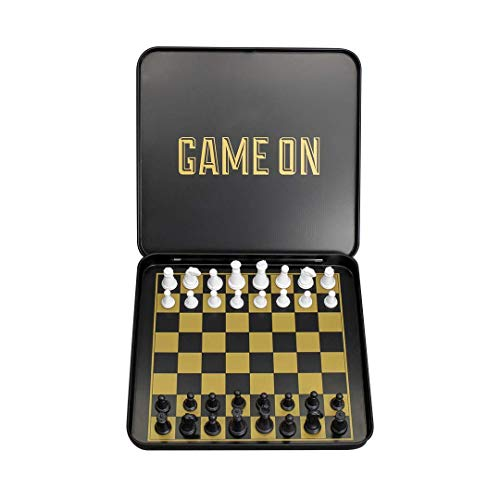 Travel Chess Set - Magnetic Traveling Mini Chess Set with Aluminum Carrying Case, Black and Gold (Mini Portable Chess Set)