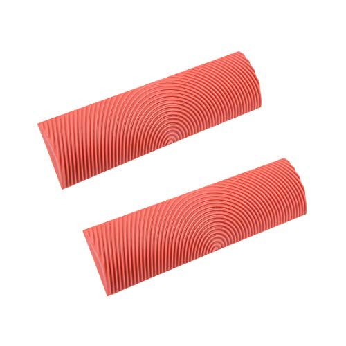 uxcell Wood Grain Tool 6 inch Rubber Empaistic Graining Pattern Stamp for Wall Decoration DIY Red 2pcs