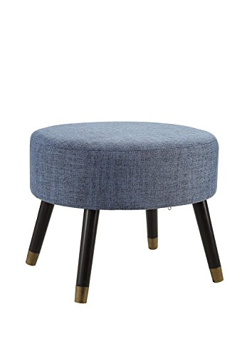 - Convenience Concepts Designs4Comfort Blue Fabric Mid Century Ottoman Stool