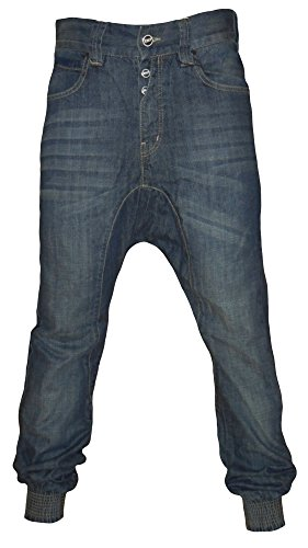 Emporio Men's Emp Verona Chino Drop Crotch Cuffed Carrot Fit Denim Jeans 32W X Regular Stone Wash (Giorgio Armani Men Clothing)