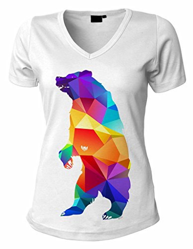Price comparison product image Junior's Geometric Poly Rainbow Bear B133 White V-Neck T-Shirt Small