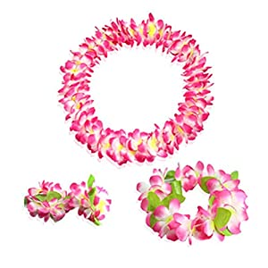 Yansanido Pink Hawaiian Flower Leis Jumbo Necklace Bracelets Headband Set with Leaf for Luau Party Decoration Supplies Hawaiian Luau Party Decoration Supplies 36