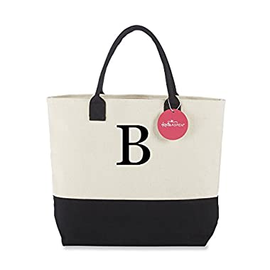 Kate Aspen Tote Bag, Classic Monogrammed Black White B