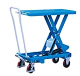 "DAZONE Manual Hydraulic Scissor Lift Cart - 1540 lb Capacity, 16.6"" to 39.4"" in Height Range, 20.5"" x 39.8"" in Platform TA70"
