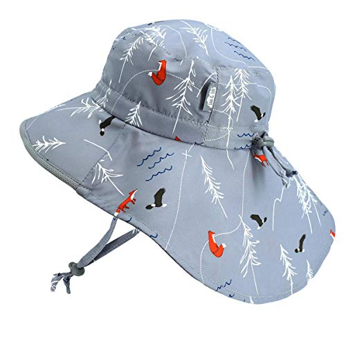 Baby Sun-Hat, 50+ UPF, Wide Brim, Adjustable Drawstring, Stay- on (S: 0-6m, The Rockies) (Full Draw Outdoors)