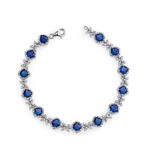 (Sterling Silver Cushion Cut Simulated Dainty Blue Sapphire CZ Tennis Bracelet)