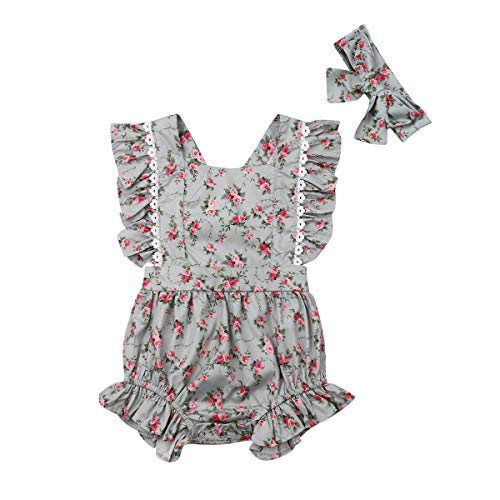 Baby Girl Romper Princess Dress Outfits Sister Matching Clothing Sleeveless Summer Floral Ruffle Lace (Romper, 6-12 Months)
