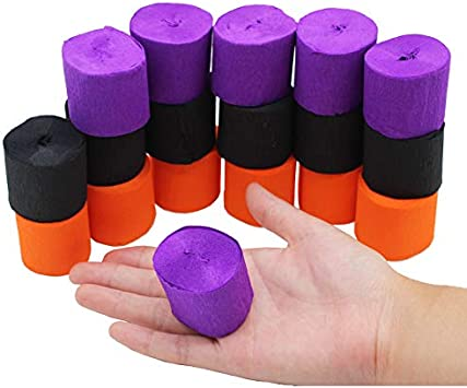 30 Halloween Orange Black Purple Crepe Streamers Paper for Halloween Party Room Window Wall Decor DIY Spooky Craft