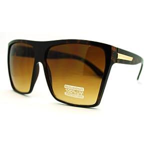 Large Oversized Retro Fashion Square Flat Top Sunglasses (Brown)