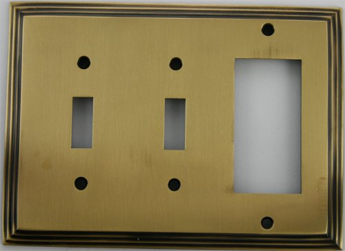 Deco Step Style Antique Brass 3 Gang Wall Plate - 2 Toggle 1 GFI/Rocker