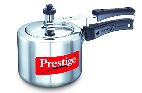Prestige PRNPC2 Nakshatra Plus 2-Liter Flat Base Aluminum Pressure Cooker for Gas and Induction Stove, Small, Silver