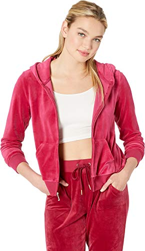 Juicy Couture Women's Sequin Logo Hoodie Raspberry Pink X-Large ()