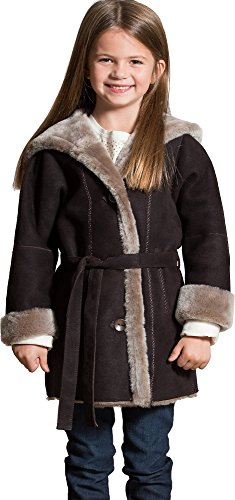 Girl's Isabella Belted Shearling Sheepskin Stroller with Hood by Overland Sheepskin Co