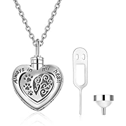 "Memorial Urn Necklace for Dog Cat Pets Ashes,Engraved""Always in My Heart""Sterling Silver Dog Paw Pendant Necklace For Women Girls Unisex (Dog Paw Urn Necklace)"