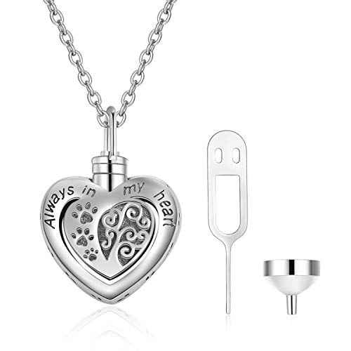 POPLYKE Memorial Urn Necklace for Dog Cat Pets Ashes,Engraved Always in My Heart Sterling Silver Dog Paw Pendant Necklace for Women Girls Unisex (Dog Paw Urn Necklace)