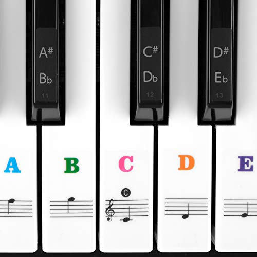 Piano Stickers for Keys, Eison Colorful Piano Keyboard Stickers for 88/61/54/49/37 Full Set Black and White Key Stickers Removable for Kids Learning Piano, Leaves No Residue, Kids Gift -Multi-Color ()
