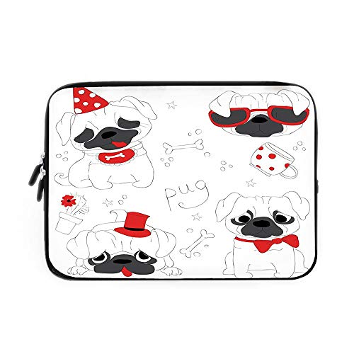 Pug Laptop Sleeve Bag,Neoprene Sleeve Case/Dogs in Various States Sad Happy Cool Excited Dog Bone Dotted Mug Caricature Style Decorative/for Apple MacBook Air Samsung Google Acer HP DELL Leno