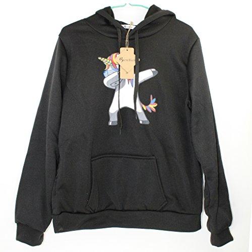 Nero Tops T Donna Ragazza Autunno Sportive Stampa Lunghe Maniche Corte Shirt Girocollo Maglietta Felpa Maglione Unicorno Inverno Basic Sweatshirt Felpe Bienbien Tumblr Pullover wgSBqB