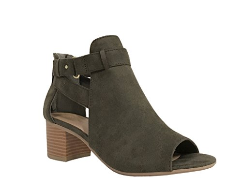 Green Toe Shoes (City Classified Women's Cutout Side Strap Mid Black Chunky Heel Fashion Ankle Bootie Boots Olive 7)