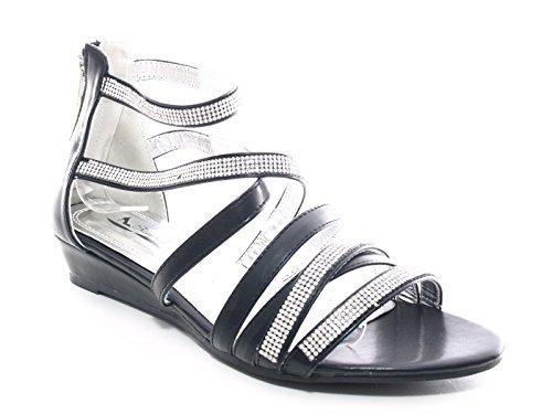Damen Keilabsatz Knöchelriemchen Sandalen Schwarz # 2523