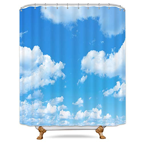 Riyidecor White Clouds Shower Curtain Blue Sky Natural Scenery Decor Fabric Bathroom Set Polyester Waterproof 72x72 Inch 12-Pack Plastic -