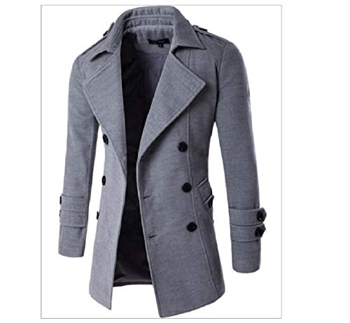 Men Woolen Solid Double Grey Notch Howme Overcoat Light Breasted Lapel qa7wCq4dx