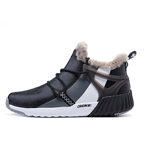 ONEMIX Men and Women Fur Lined Winter Snow Boots Ankle-High Sports Sneakers Blackwhite Size10 D(M) US=EUR 44 =Foot Length 11.02in For Sale