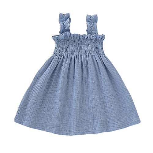 YOUNGER TREE Toddler Baby Girls Summer Cotton Lace Sleeve Princess Overall Dress Backless Sundress (Blue#1, 3-4 T)