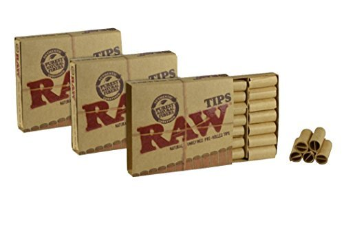 Raw Natural Unrefined Pre-Rolled Filter Tips 3 Pack ( 21 Per Box )