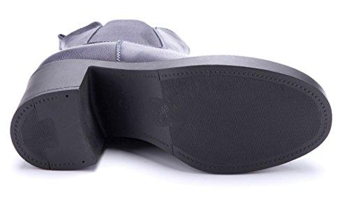 Schuhtempel24 Damen Schuhe Klassische Stiefeletten Stiefel Boots Blockabsatz 7 cm Blau