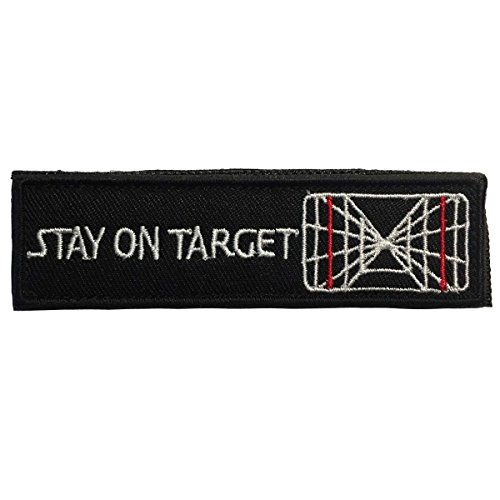 SpaceCar Stay on Target Military Tactical Morale Badge Hook & Loop Embroidery Patch 3.74